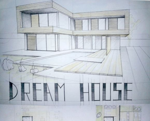 Modern House Drawing Paper Size Technique Graphite Pencil And