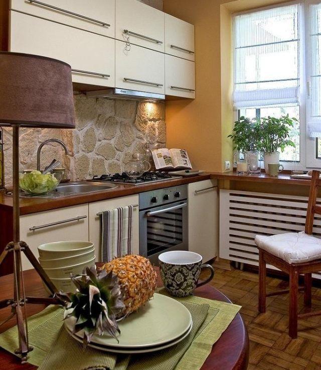 Kleine küche einrichten ideen rustikal naturstein rückwand