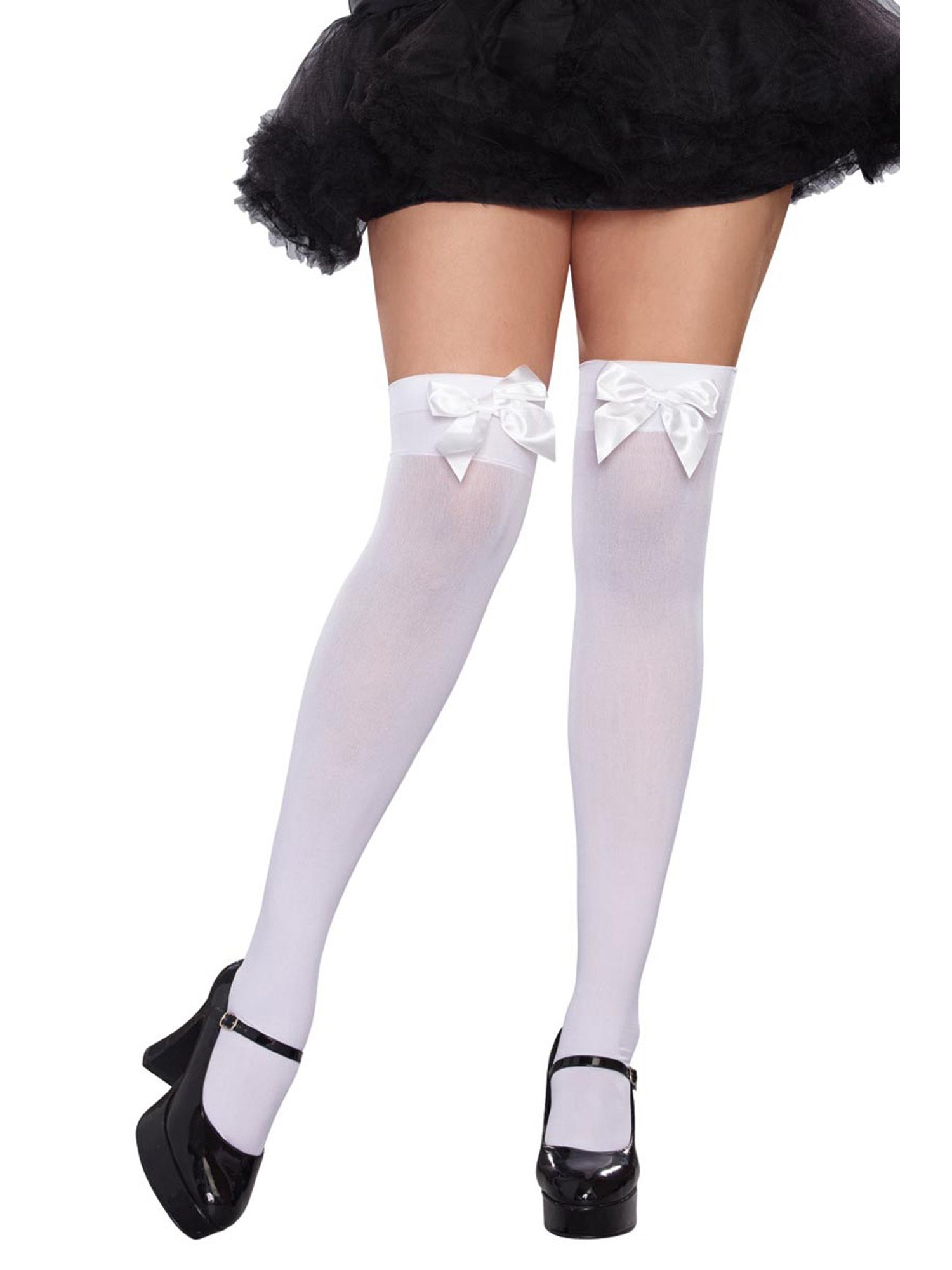299852949ca221 Plus Size Full Figure Satin Bow Opaque Thigh High Stockings Hosiery#Satin, # Bow, #Figure