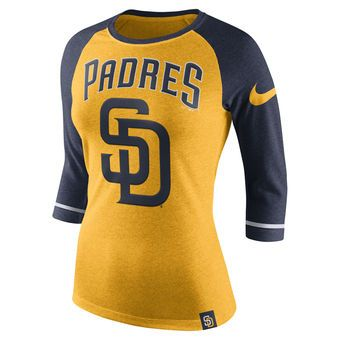 quality design ce440 76703 Nike San Diego Padres Women's Heathered Gold Tri-Blend 3/4 ...