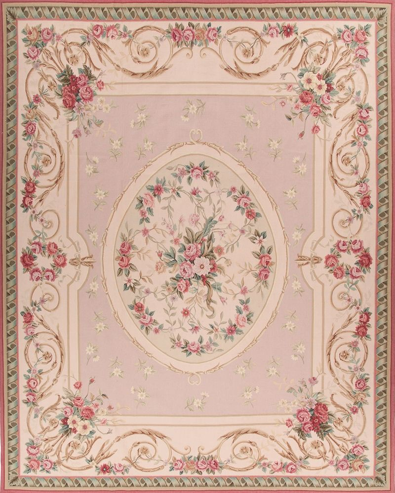 Dollhouse Miniature Floral Iron On Fabric Rug 1:12 Cream Oval Oriental Persian