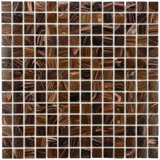 SomerTile 12x12 in Cuivre 1 in Brown Gold Translucent Glass Mosaic