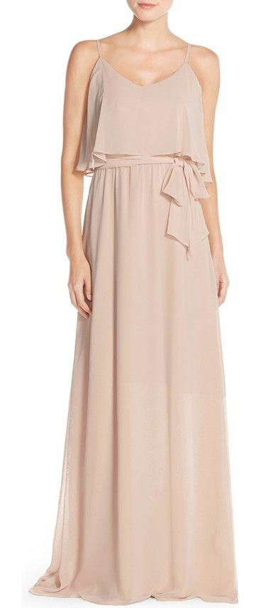 dani popover bodice chiffon maxi dress by Ceremony by Joanna August. A fluttery overlay at the V-neck bodice creates romantic and flattering dimension atop a dreamy chiffon gown suspende...