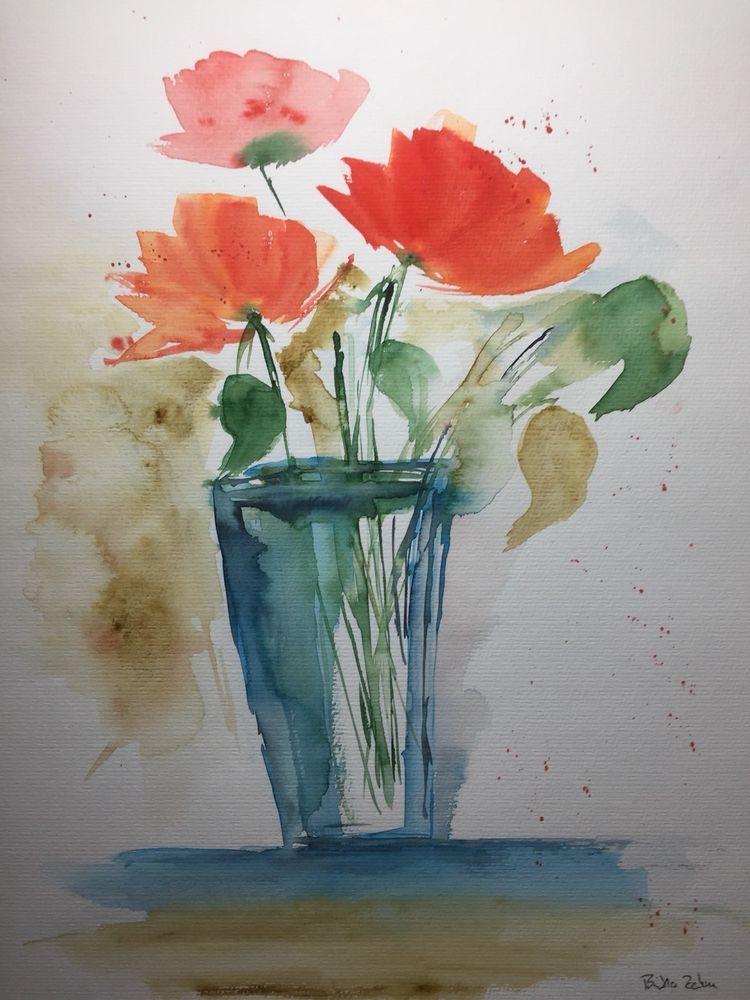 Original Aquarell Mohnblumen Blumen Bild Kunst Aquarell Watercolor Flowers Antiquitaten Kunst Kunst Aquarelle Ebay Acuarela Dibujos Y Pinturas