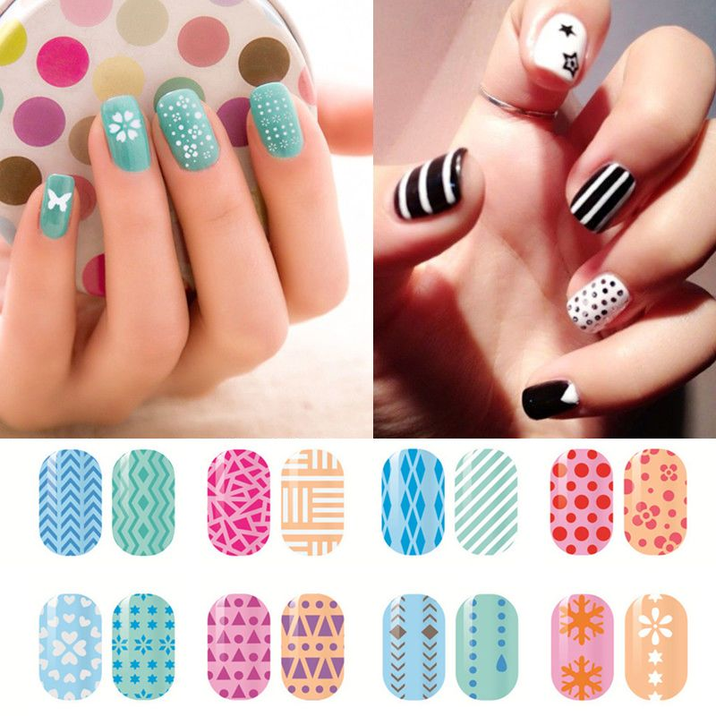 1sheet1type Fashion 12 Different Nail Art Model French Style Seal