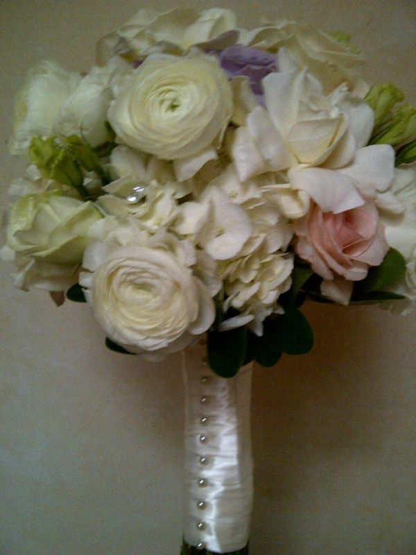 Bridal Bouquet Whites And Soft Pinks With White Satin Pearl Wrap