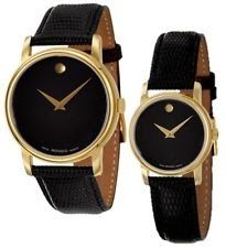 20287db810a82 Movado Museum Black Dial Gold Black Leather Mens   Womens Watch ...