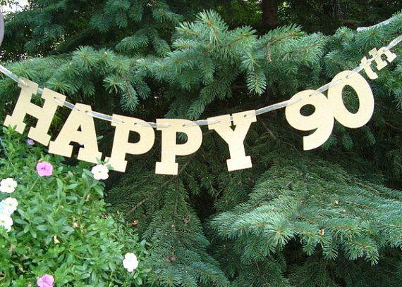 90th Birthday Banner Happy Anniversary Decoration Glitter