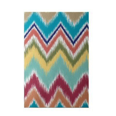 e by design Ikat-arina Stripe Print Caribbean Indoor/Outdoor Area Rug Rug Size: 4' x 6'