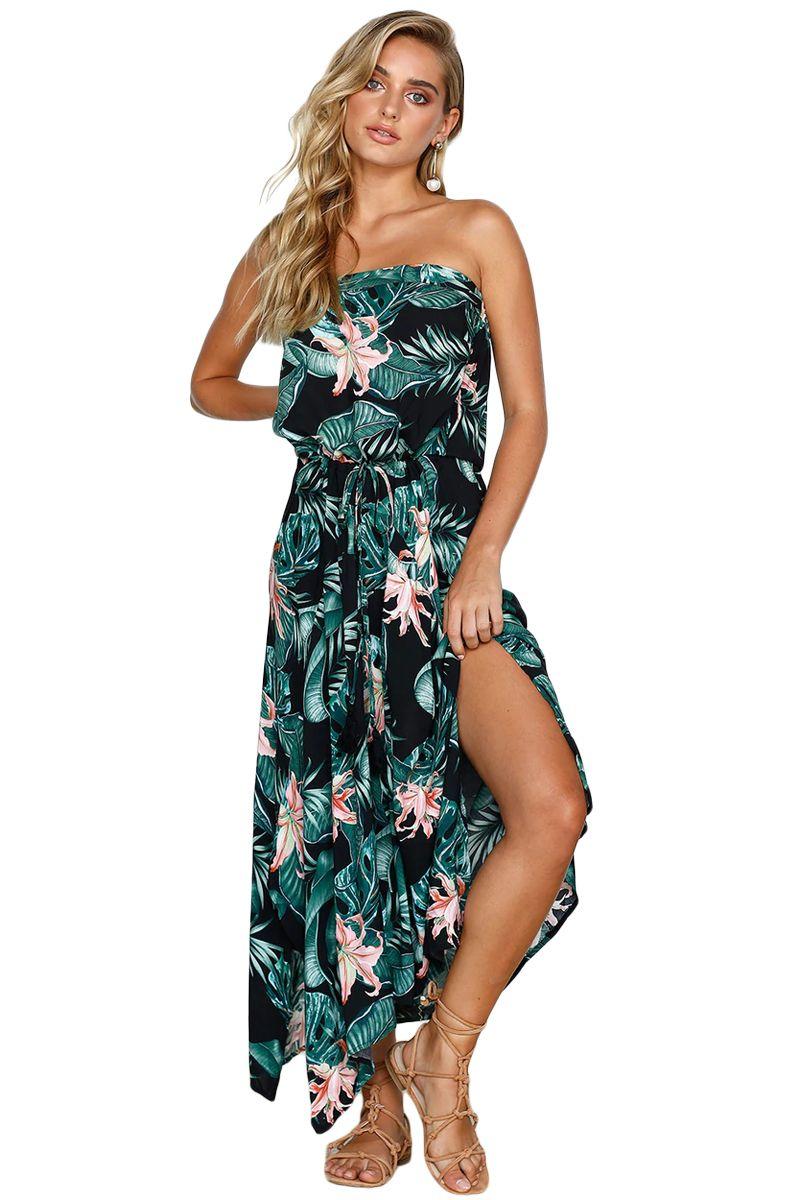 Black Green Print Holiday Leaves Maxi Dress Summer Black Dresses For Juniors White Maxi Dresses Black Maxi Dress [ 1200 x 800 Pixel ]