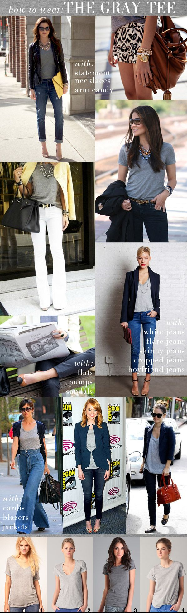 I always gravitate toward the grey tee, but sometimes it's hard to wear without looking to blah. #wahm #casualchic  How To Wear A Grey Tee via Small Shop Studio