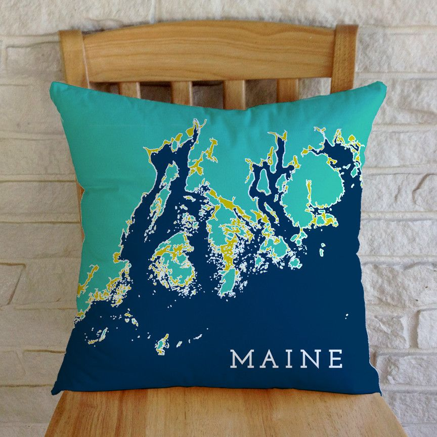 Penobscot Bay To Frenchman Bay Maine Indoor Outdoor Throw Pillow Sea Glass 54 Outdoor Throw Pillows Throw Pillows Pillows