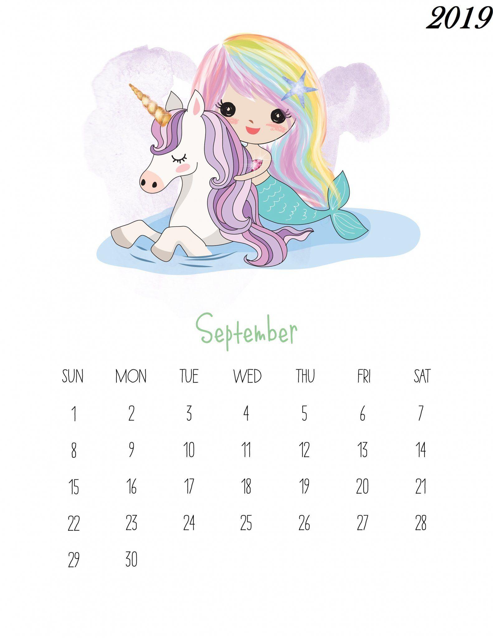 Kawaii Calendar 2019 September October And December Free Printable September 2019 Kids Calendar | 250+ 2019 Calendars
