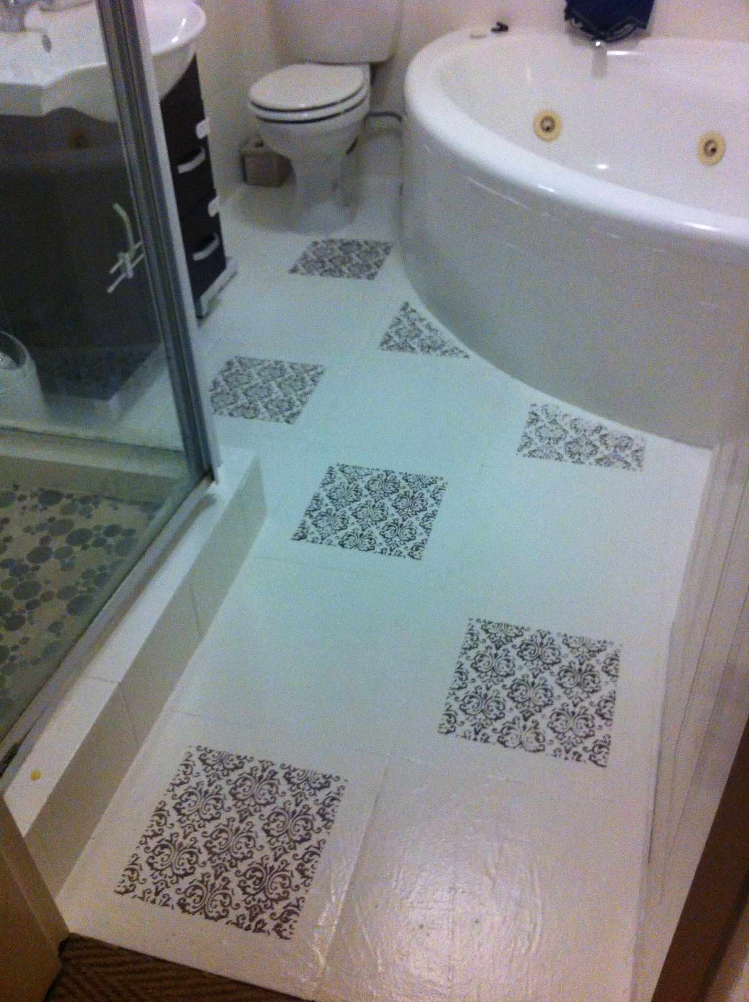 Bathroom Floor Tiles Painted White And Then Stenciled With Acrylic