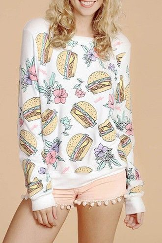 White Long Sleeve Hamburgers Print T-Shirt - Zooomberg