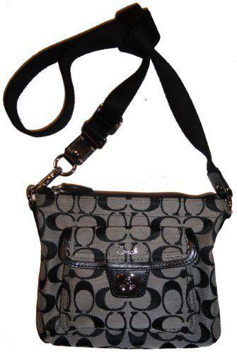 coach crossbody bag outlet 1ra2  Women's Coach Purse Handbag Signature Pocket Swingpack Crossbody  Black/White/Black COACH, http