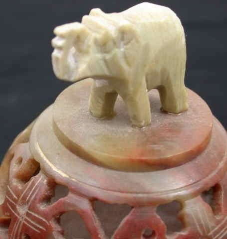 Round Soapstone Dish with Elephant For Sale
