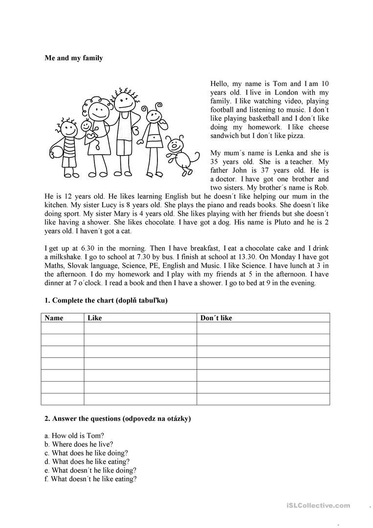 - Me And My Family Exercícios De Inglês, Como Estudar Ingles