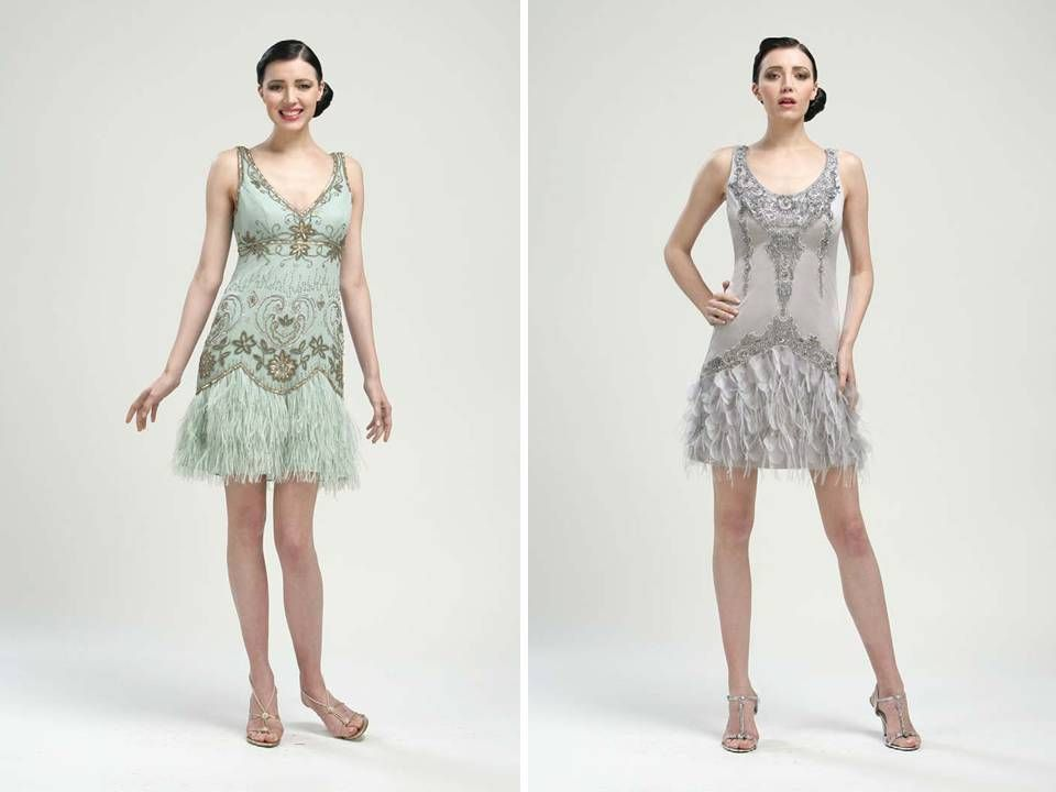 1920\'s inspired bridesmaids dresses in pale blue and slate grey by ...
