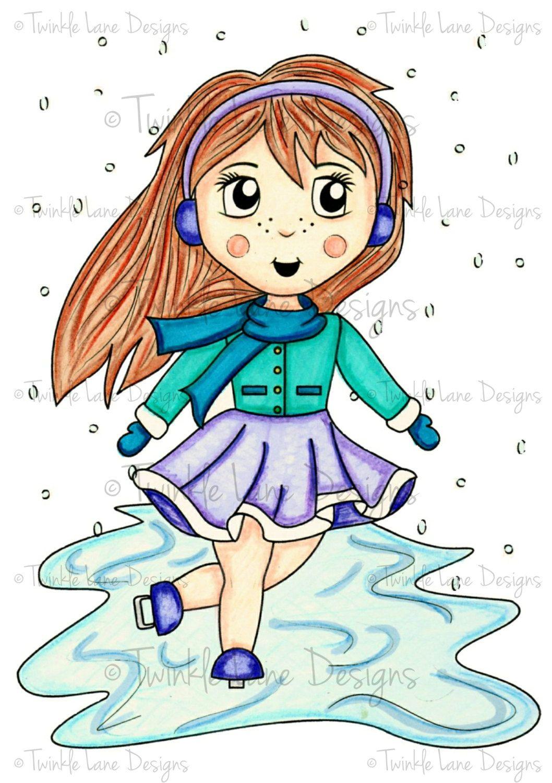 ice skater girl digi stamp winter clipart colouring page rh pinterest com free winter scene clipart images winter scene clipart black and white