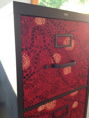 Decoupage Fabric Fancy File Cabinet