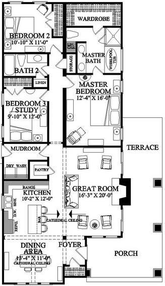 Plano de casa de 3 dormitorios 1 piso de estilo americano - Casas estilo americano ...
