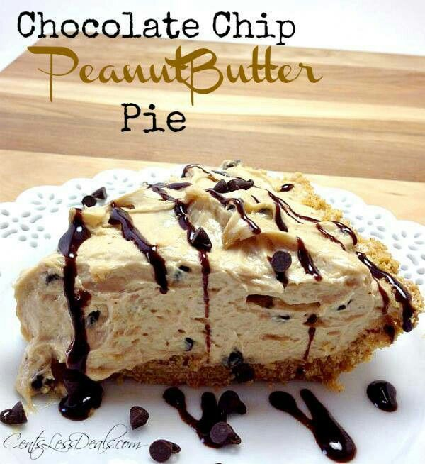 ☆•♥• Chocolate Chip Peanut Butter Pie Recipe! •♥•☆  http://centslessdeals.com/2013/05/chocolate-chip-peanutbutter-pie-recipe.html/