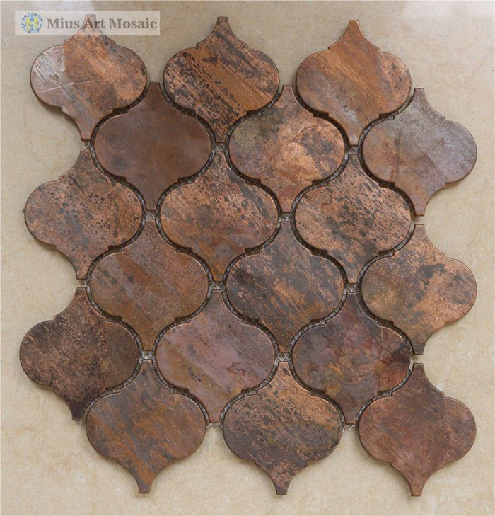 Arabesque Lantern Antique Copper Mosaic Tile Arabesque Backsplash