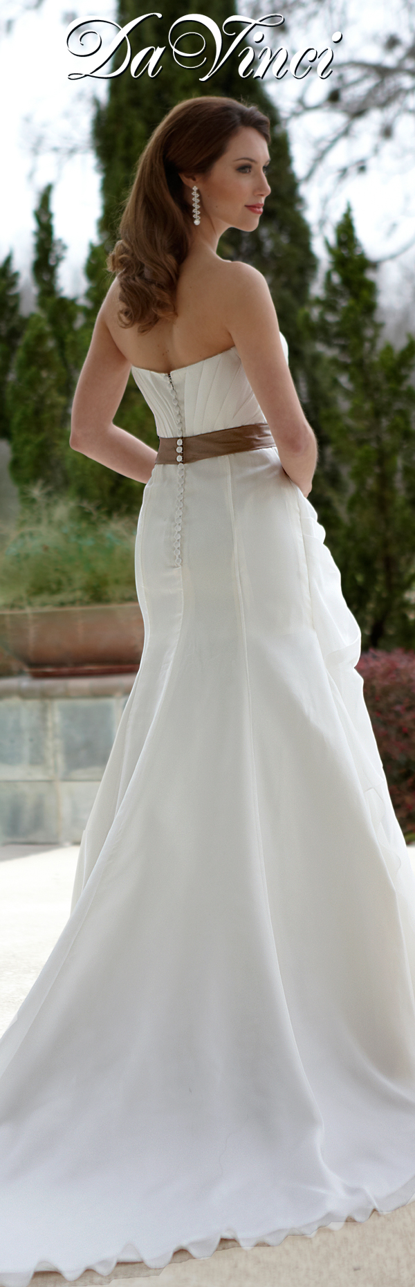Davinci bridal style organza fit and flare gown with straight