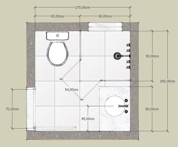 Casa solution quanto mede um banheiro pequeno medidas for Planos de banos modernos
