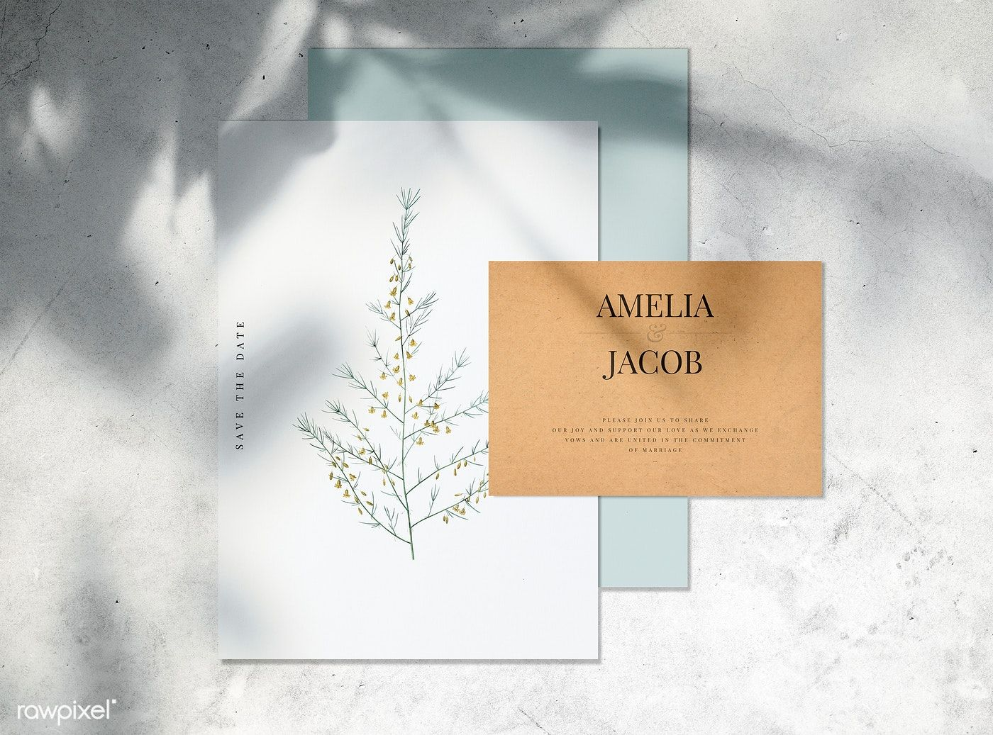 Save The Date Wedding Invitation Card Mockup Free Image By