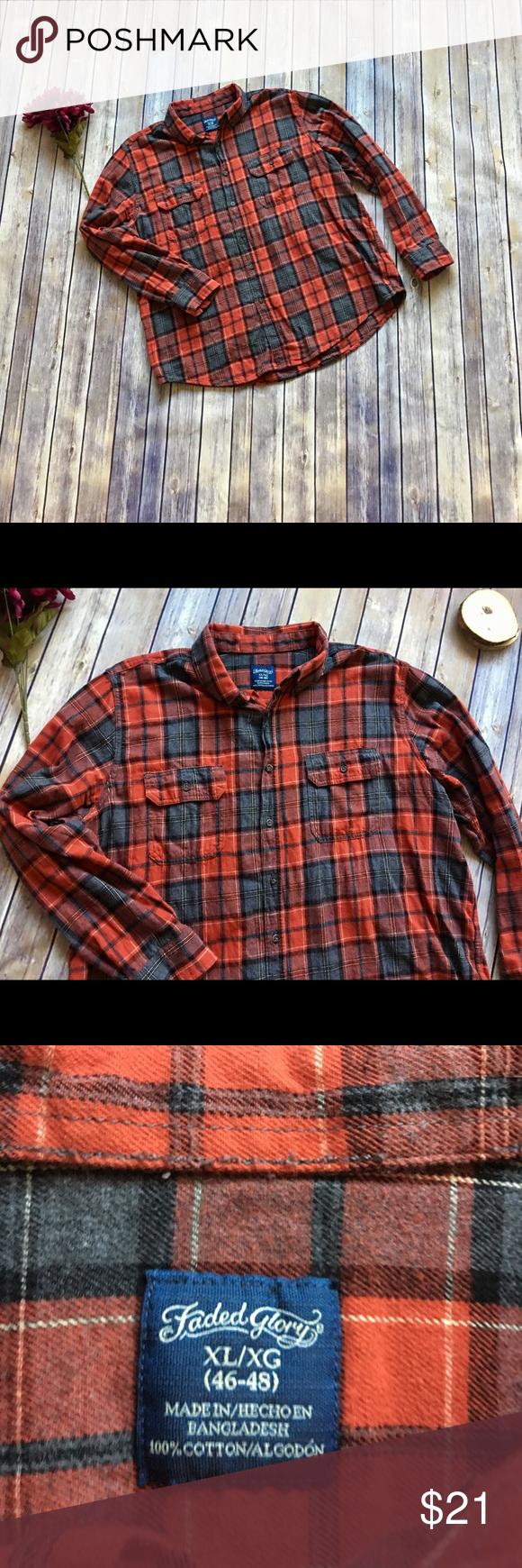 Orange flannel jacket  Faded Glory Orange Flannel Shirt Super comfy long sleeve flannel