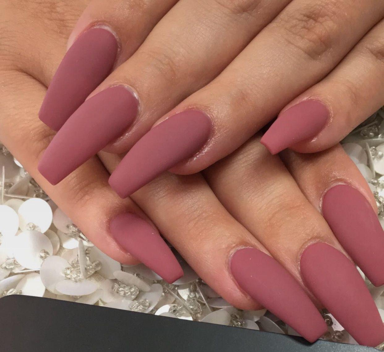 Matte Pink Coffin Shaped Nails Matte Pink Nails Pink Nails Laque Nail Bar