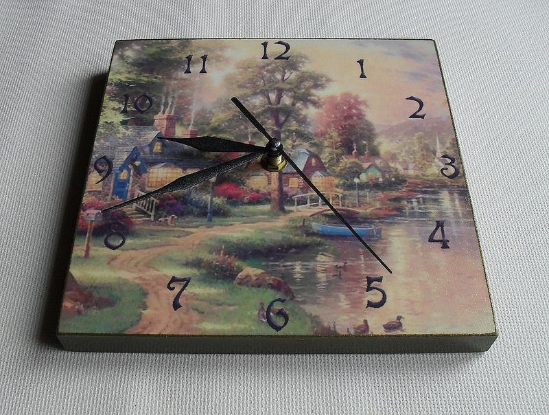 """wall clock """"Little Village"""" handmade decoupage 