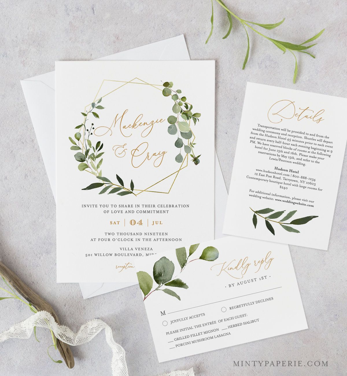 Greenery Wedding Invitation Template Printable Invite RSVP  Etsy