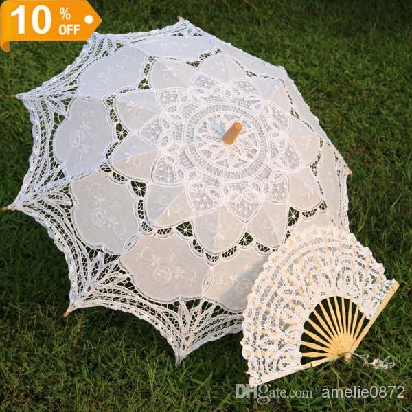 cb7b3fded Wholesale Sun Umbrella - Buy White Embroidered Battenburg Lace Parasol And  Fan Sun Umbrella Set Bride Adult Size Vintage, $27.91 | DHgate