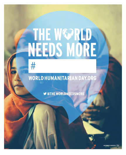 In one word, what do you think the world needs more of? For this year's World Humanitarian Day campaign, launching on 19 August, this is the question we will be asking you.   Follow @UN_WHD to see what happens next and visit www.worldhumanitarianday.org on 19 August to share your word ‪#‎TheWorldNeedsMore‬
