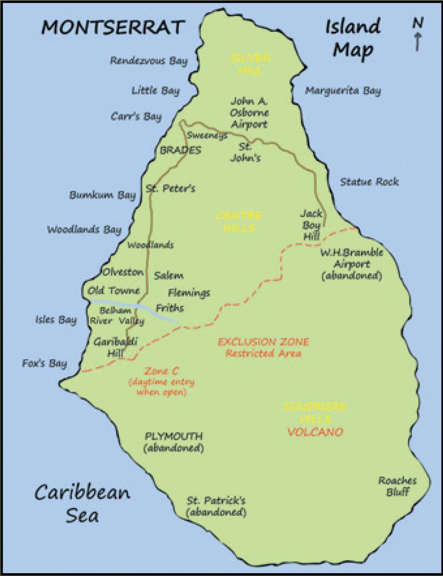 Montserrat Island Map, British West Indies | Montserrat | Island ...