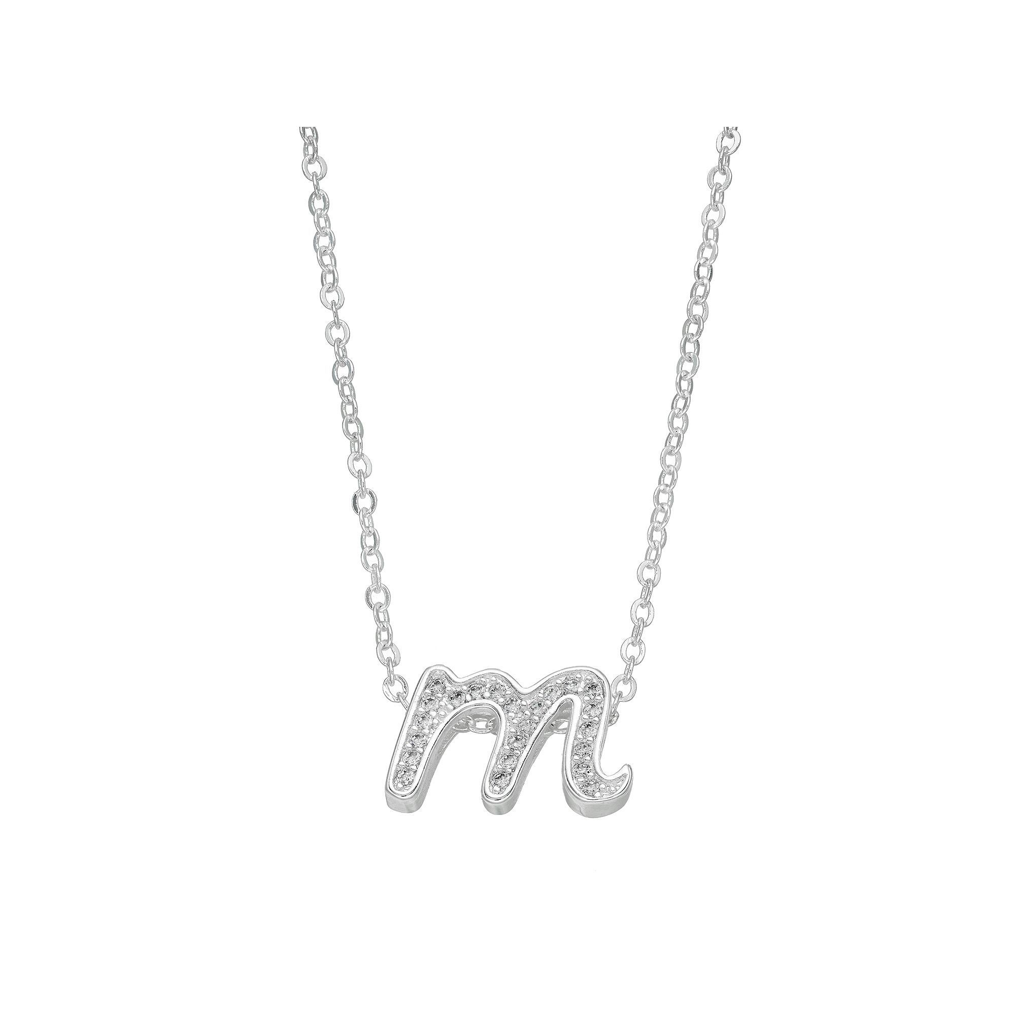 Silver plated cubic zirconia initial pendant necklace womens silver plated cubic zirconia initial pendant necklace womens size 18 aloadofball Image collections