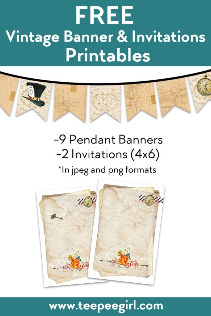 free vintage banners and invitations