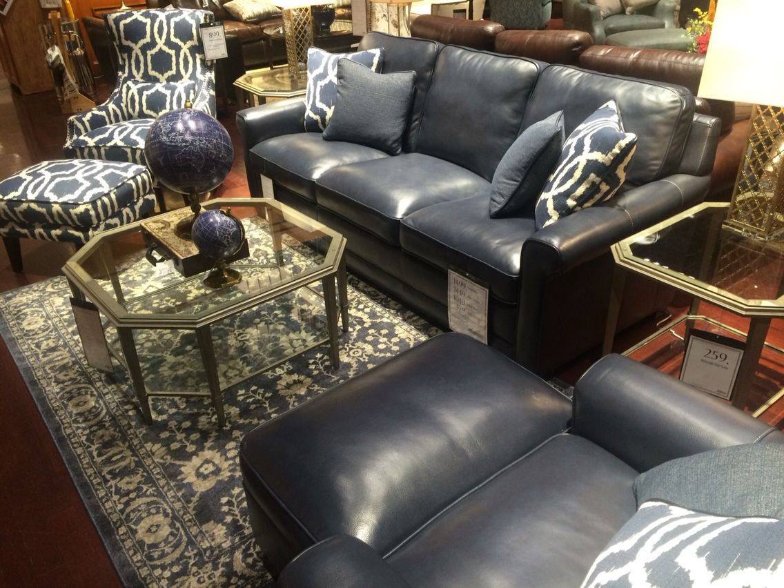 Simon Li Blue Leather Sofa And Accent Chair Blue Rug And Blue