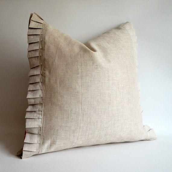 Sukan  1 PURE Raw Ruffle Linen Pillow Cover Linen by