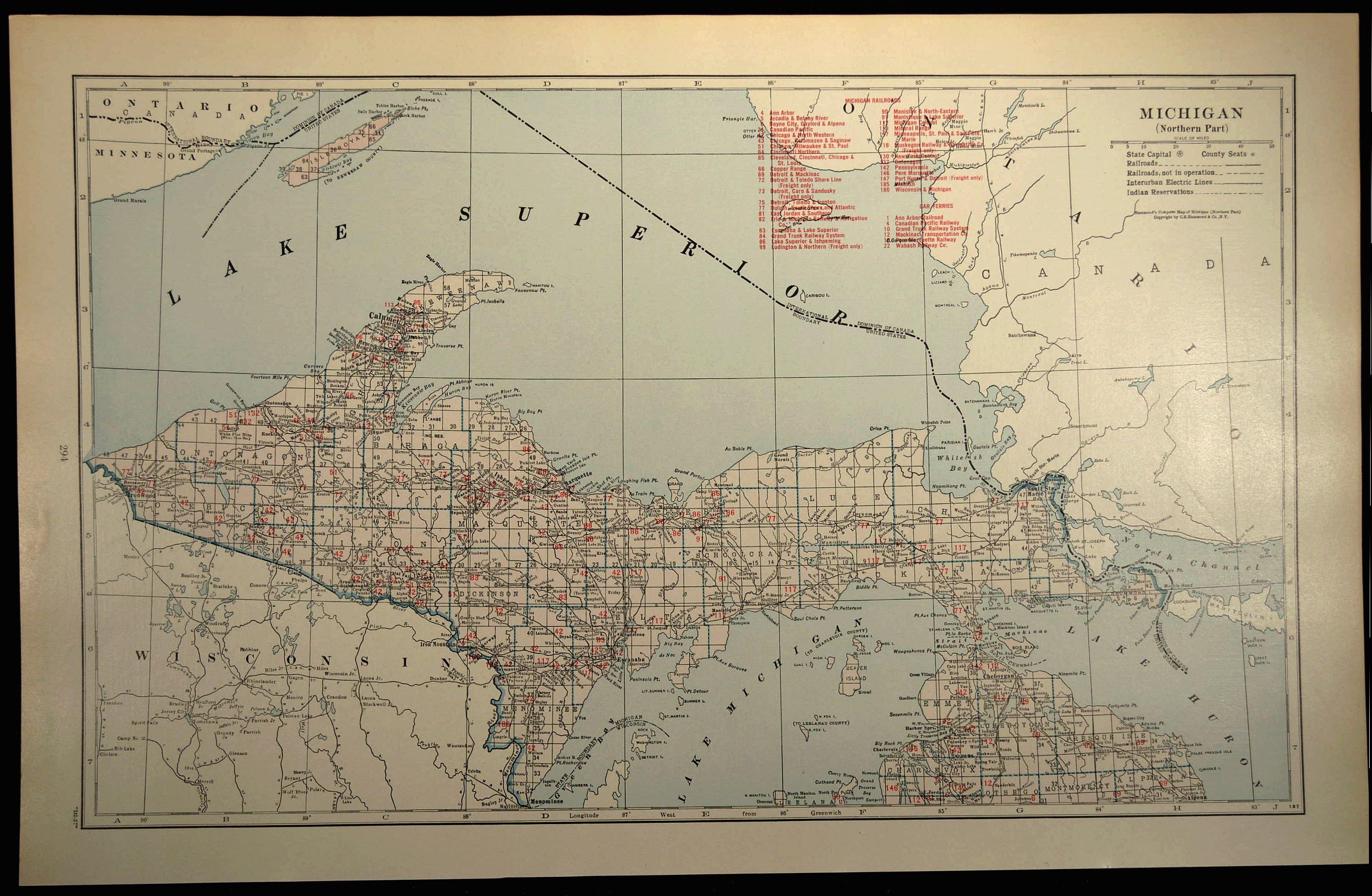 Michigan Railroad Map LARGE Map of Northern Michigan Peninsula