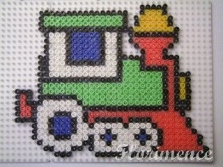 Train hama perler beads by Florimence