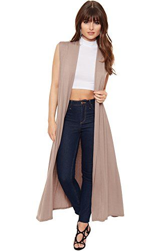 4b655594d13 Women's Pullover Sweaters - WearAll Womens Long Maxi Open Sleeveless Top  Jacket Collar Plain Cardigan -- More info could be found at the image url.