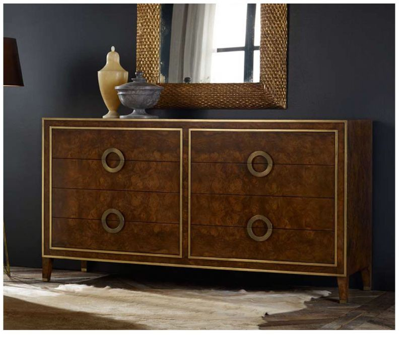 Retro Style Dresser In Burl Wood Eight Drawers With Br Detail