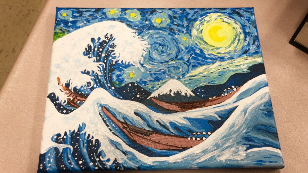 Watercolor art history - Ap Art History Project Mix Of Starry Night By Van Gogh And The Great Wave