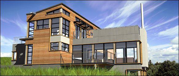 Modern Prefabricated Homes For Modern Lifestyle: Modern Prefabricated Homes  Three Stories Wooden Wall Modern Porch