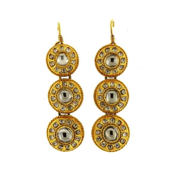 Indian 22k Gold Diamond Enamel Drop Earrings Featured in our upcoming auction on September 29!