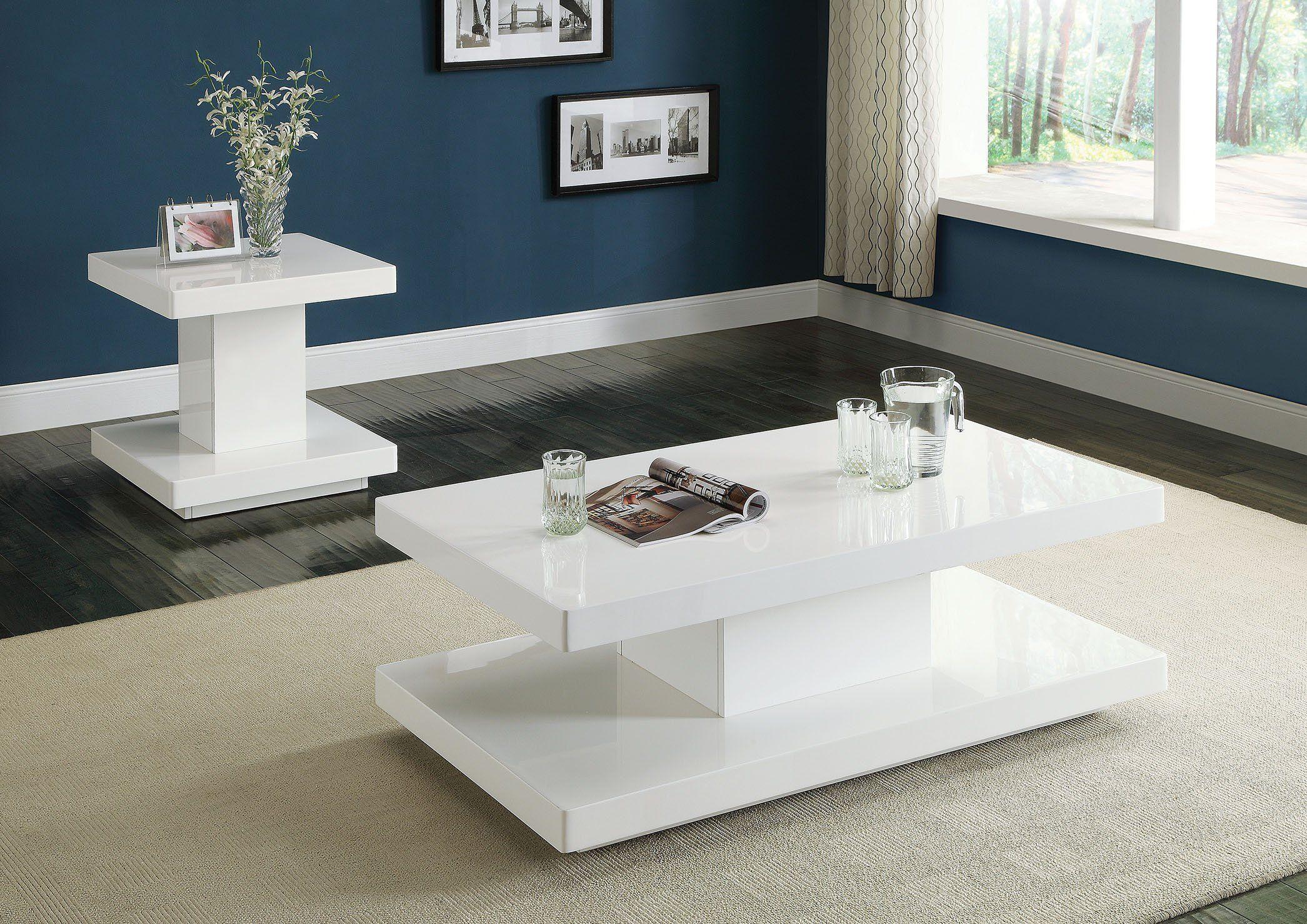Acme Imena Modern White Coffee Table Set Coffee Table Coffee Table White Coffee Table Rectangle [ 1479 x 2091 Pixel ]